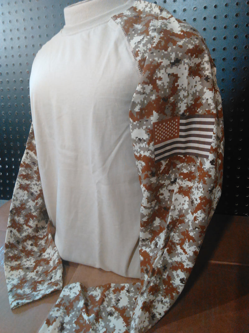 Men's Ariat FR baseball Sand Digi camo shirt SIZE: XL-TALL Patriotic Edition w/ American Flag on the Sleeve 10023955