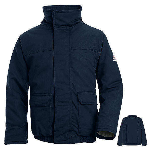 Bulwark FR fire retardant Used Navy Insulated Bomber Jacket Coat - CAT 3 - JLR8NV