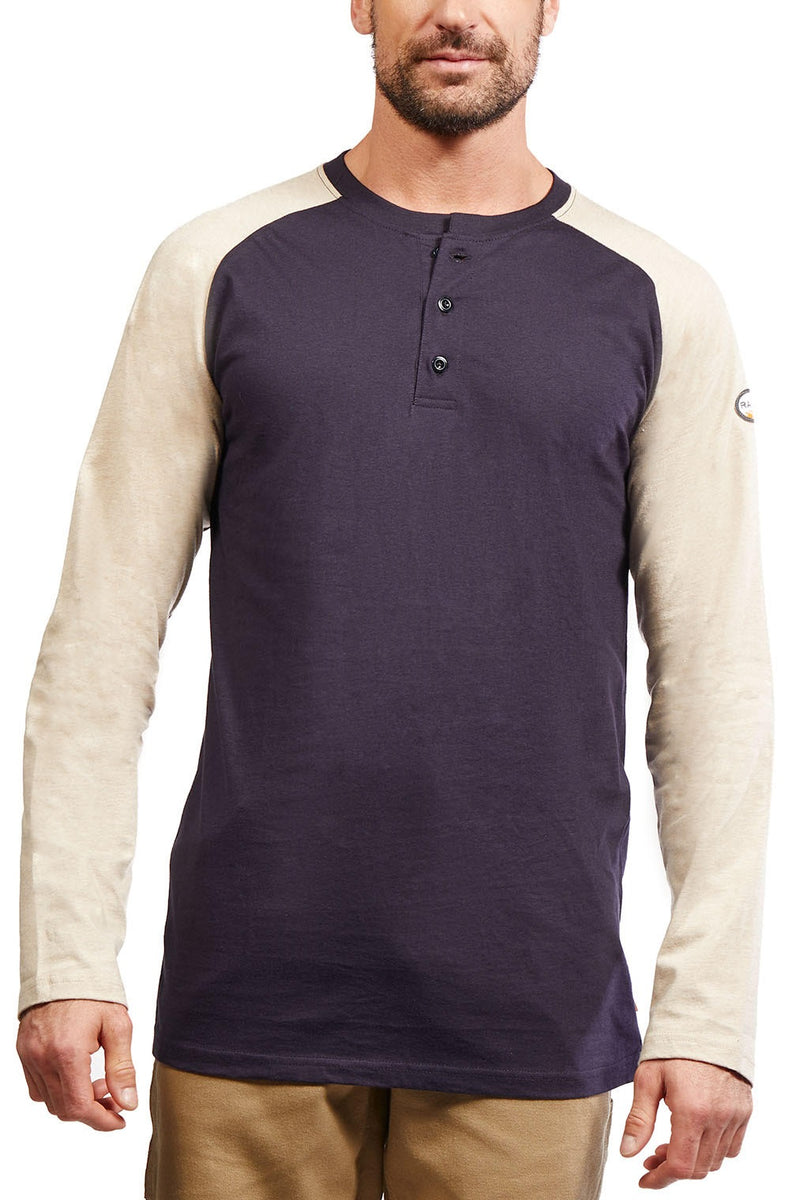 ***New + Improved Rasco FR Lightweight Baseball-style Two Tone Henley - In Multiple Colors
