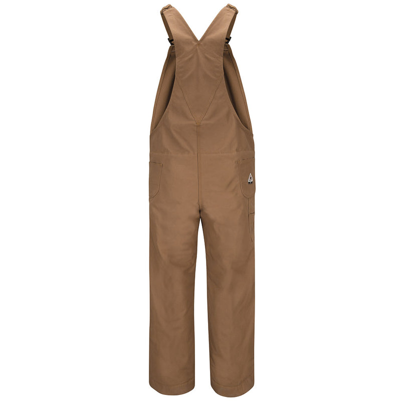 Bulwark FR fire retardant MEN'S BIB COVERALL KNEE ZIP 14OZ BROWN DUCK BLF6BD