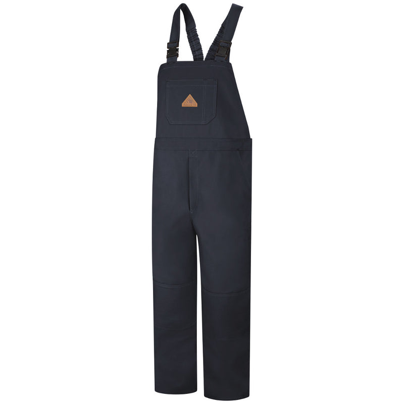 Bulwark FR fire retardant Duck Unlined Bib Overall - CAT 2 - BLF8 in Navy and Brown