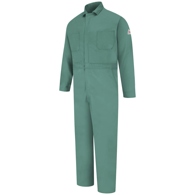 Bulwark FR fire retardant Visual Green Gripper-Front Coverall - CAT 2 - CEW2VG