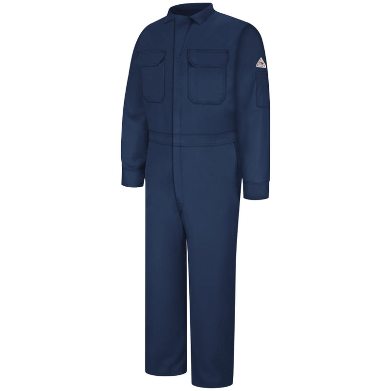 Men's Bulwark FR fire retardant 7oz. Deluxe Contractor Coverall - CAT 2 - CMD6 in Khaki and Navy