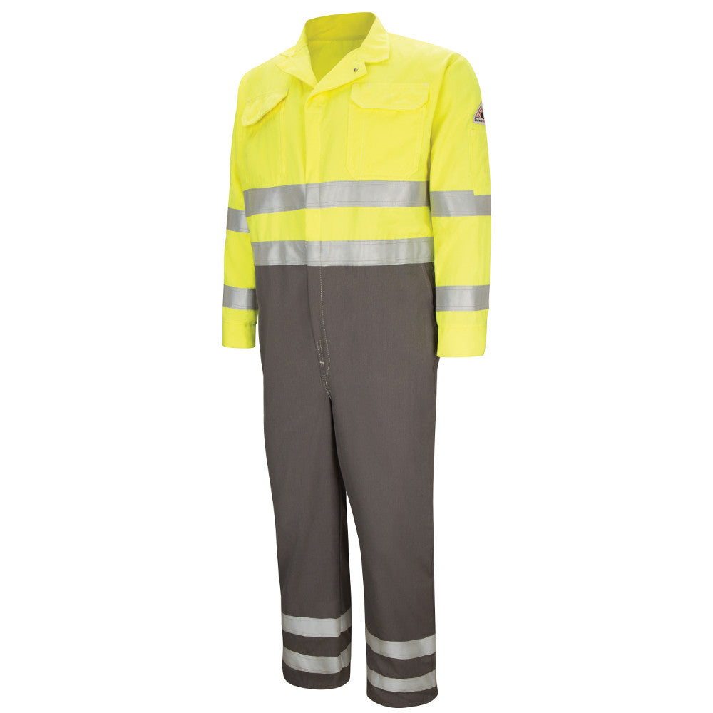 Bulwark FR fire retardant HI-VIS DELUXE COLOR BLOCK COVERALL WITH REFLECTIVE TRIM CMDCHG