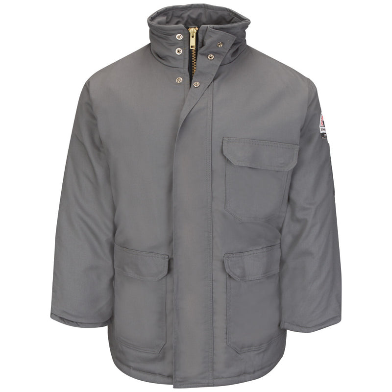 Men's FR Bulwark CAT3 DELUXE FR Insulated PARKA Coat in Grey, Khaki, and Navy JLP8