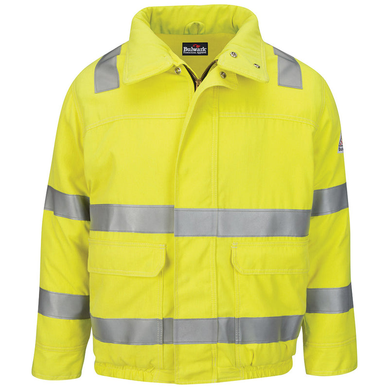 Men's FR Bulwark Hi-Visibility Lined Bomber Jacket with Reflective Trim - CoolTouch®2 JMJ4HV