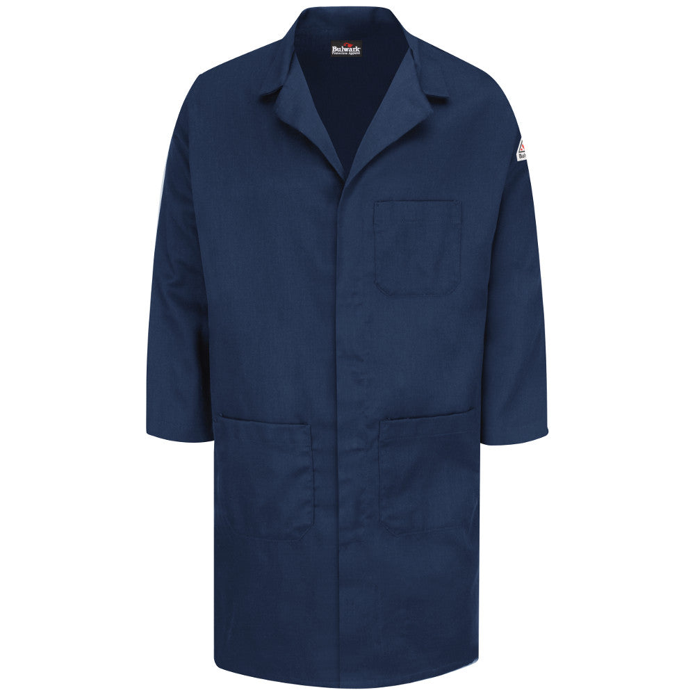 Bulwark FR fire retardant Navy Concealed Snap Front Lab Coat - CAT 2 - KLL6NV