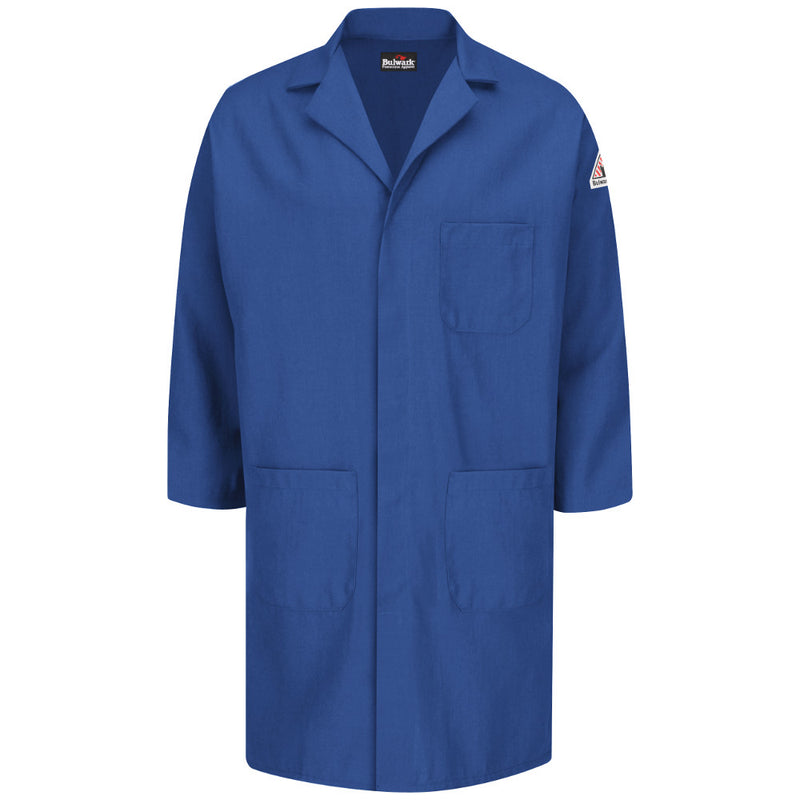 Bulwark FR fire retardant Royal Blue Concealed Snap Front Lab Coat - CAT 1 - KNL6RB