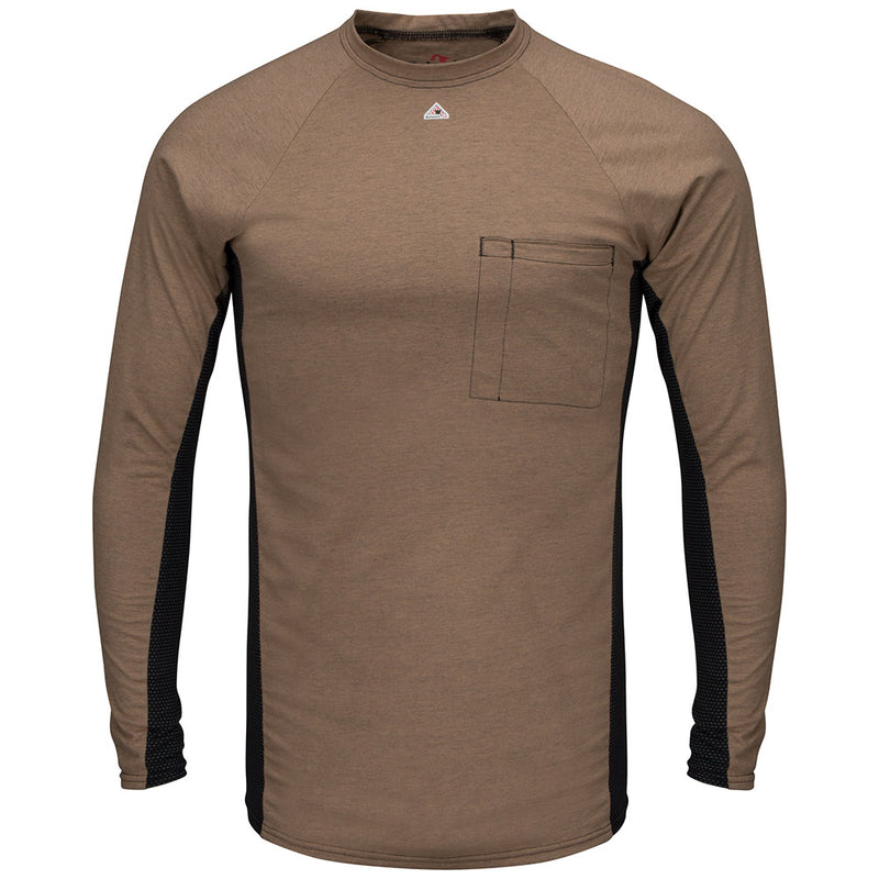 Men's Bulwark FR fire retardant Long Sleeve FR Two-Tone Baser Layer Shirt -MPS8 in Grey and Khaki