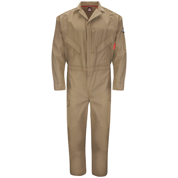Men's FR Bulwark iQ Series® Endurance Premium Coverall in Grey, Khaki, and Navy QC10