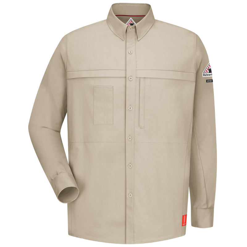 Men's Bulwark FR iQ Series® Comfort Woven Concealed Pocket Light Tan Shirt QS20LT
