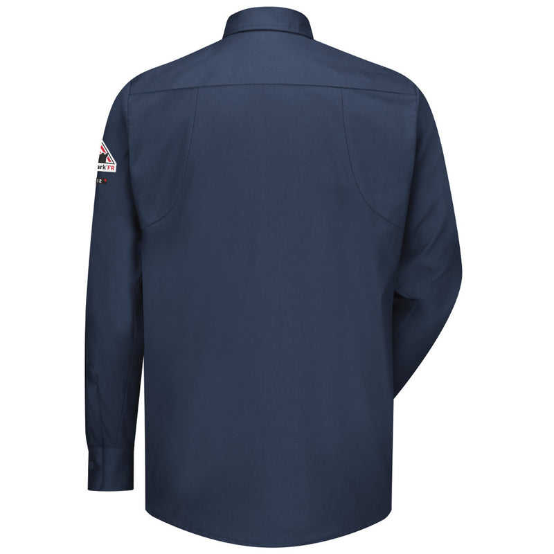 Men's Bulwark FR iQ Series® Comfort Woven Long Sleeve Patch Pocket Shirt in Dark Blue and Light Tan QS30