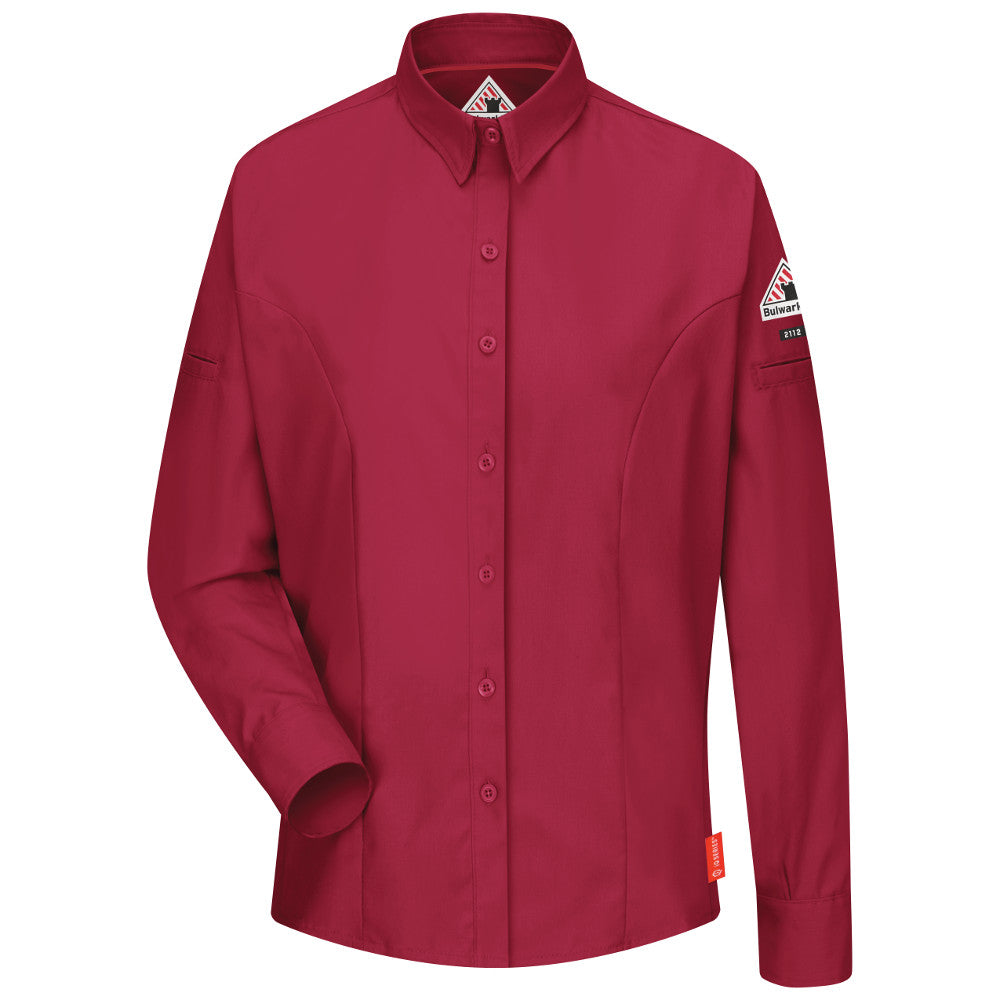 Women's FR Bulwark iQ Series® Comfort Woven Women's Long Sleeve Shirt in Red QS31RD