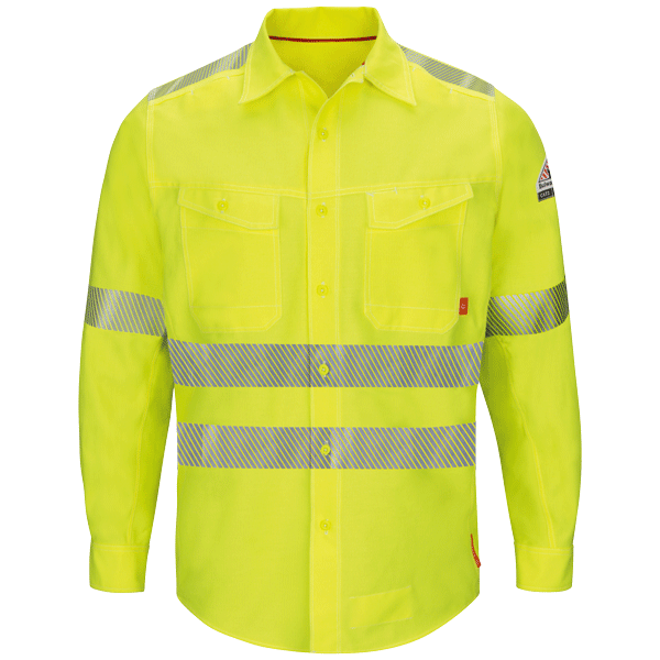Men's FR Bulwark iQ Series® HI-VIS Reflective Endurance Work Shirt, ANSI Class 3 Type R QS40HV