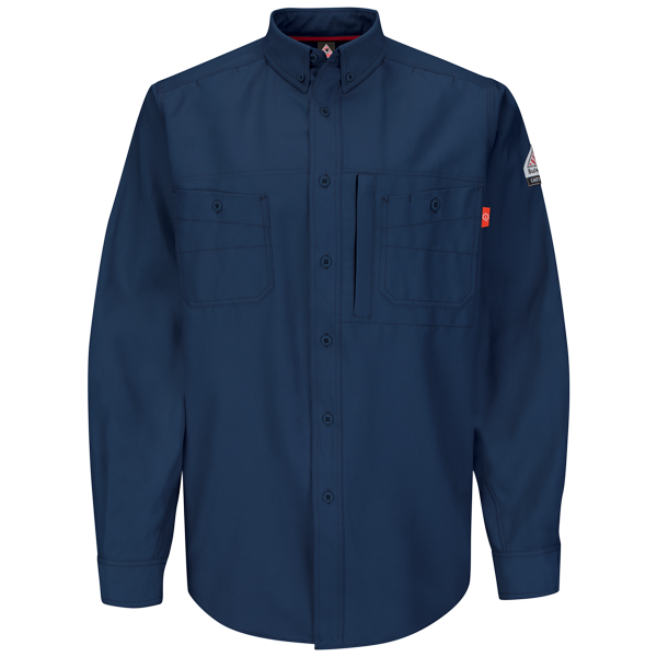 Men's FR Bulwark iQ Series® Endurance Uniform Shirt in Navy, Khaki, and Grey QS42