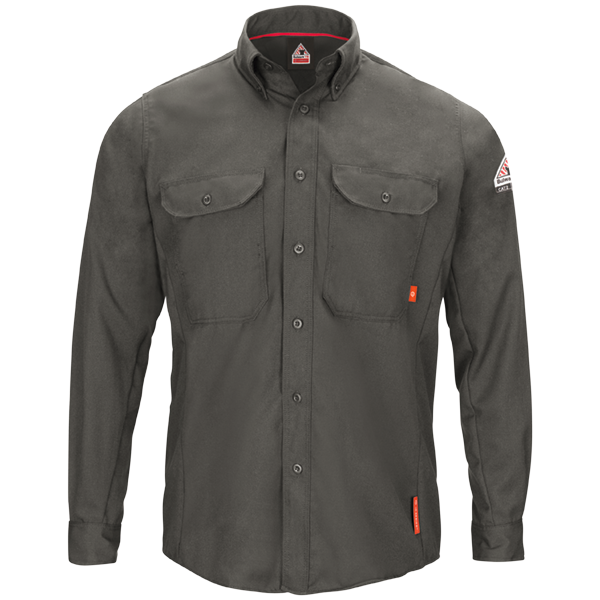 Men's FR Bulwark iQ Series® Long Sleeve Comfort Woven Lightweight Shirt in Dark Grey and Navy QS50