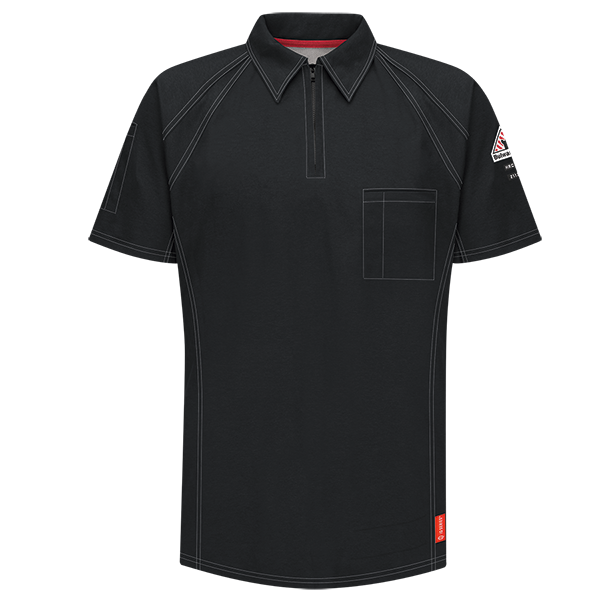 Men's FR Bulwark iQ Series® Comfort Knit Short Sleeve Polo in Black, Blue, Charcoal, Dark Blue, Khaki, and Red QT10