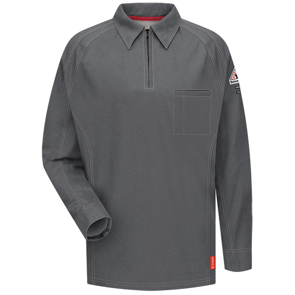 Men's FR Bulwark iQ Series® Comfort Knit Long Sleeve Polo in Black, Blue, Charcoal, Dark Blue, Khaki, and Red QT12