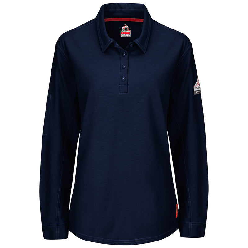 Women's FR Bulwark iQ Series Long Sleeve Polo in Khaki, Charcoal, Dark Blue, and Red QT15