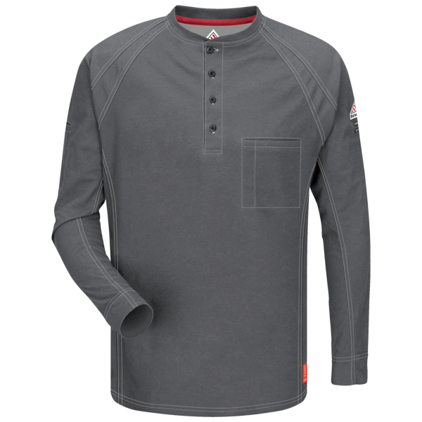 Men's FR Bulwark iQ Series® Comfort knit Long Sleeve Henley in Black, Blue, Charcoal, Dark Blue, Khaki, and Red QT20