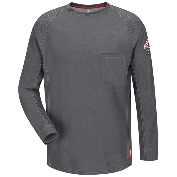 Men's FR Bulwark iQ Series Comfort Knit Long Sleeve T-Shirt in Black, Blue, Dark Blue, Charcoal, Khaki, and Red QT32