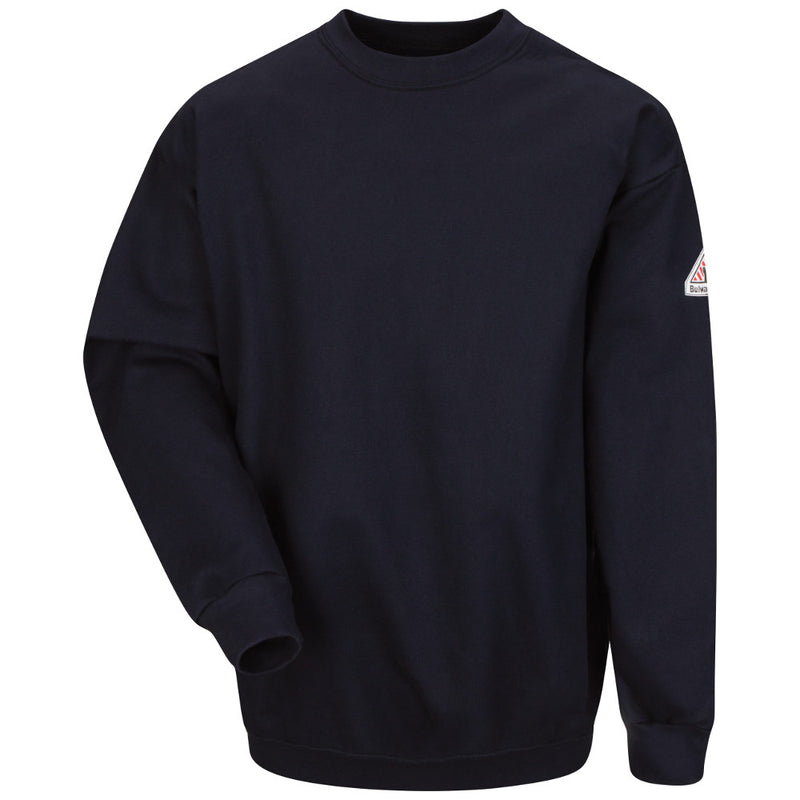 Bulwark FR fire retardant Navy Cotton/Spandex Brushed Fleece Sweatshirt - CAT 2 - SEC2NV