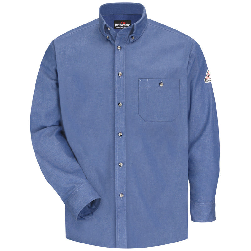 Men's Bulwark FR fire retardant Light Denim Dress Shirt - EXCEL FR® - 7 oz. - CAT 2 - SEG2LD