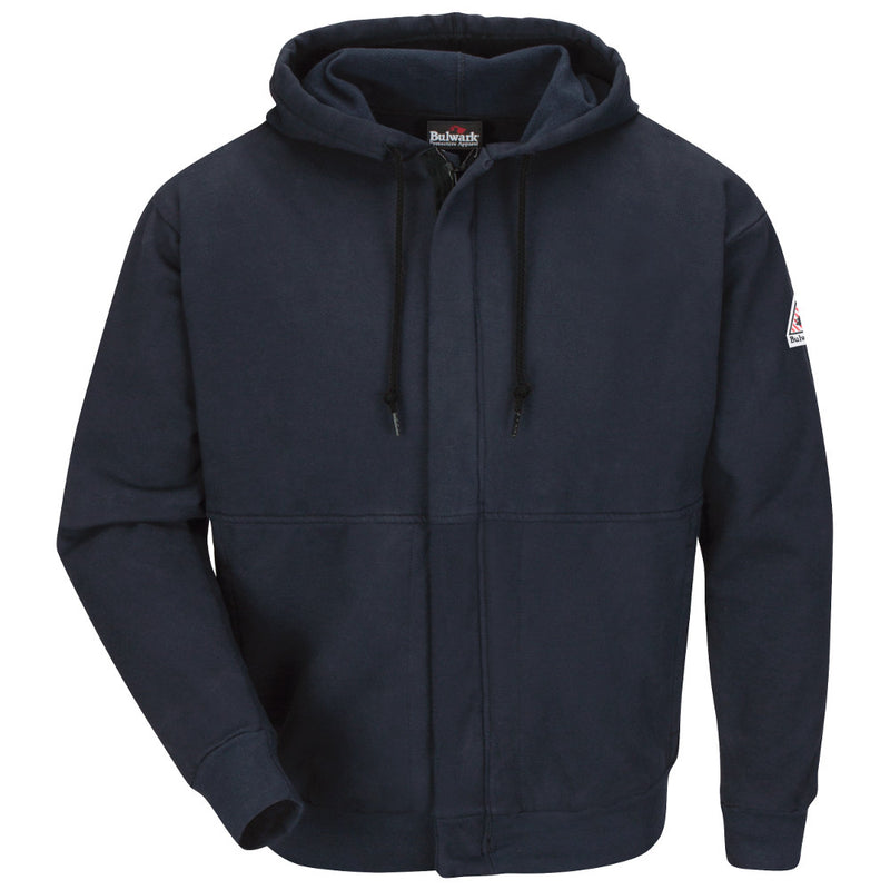 Bulwark FR fire retardant Zip-Front Hooded Sweatshirt - Cotton/Spandex Blend - CAT 2 - SEH4 in Charcoal and Navy