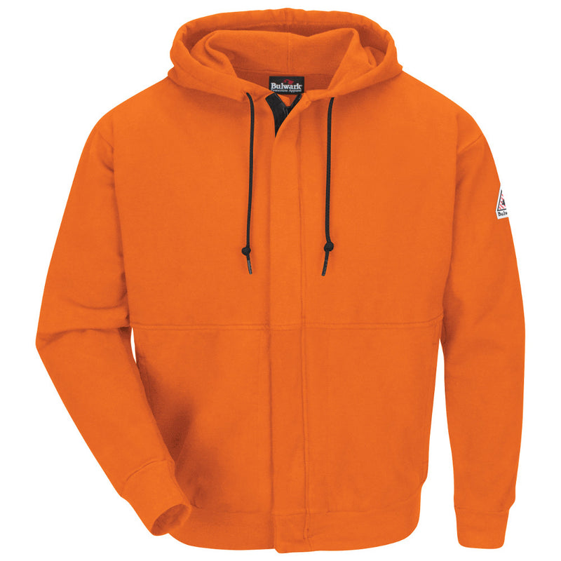 Bulwark FR fire retardant Orange Zip-Front Hooded Sweatshirt - Cotton/Spandex Blend - CAT 2 - SEH4OR