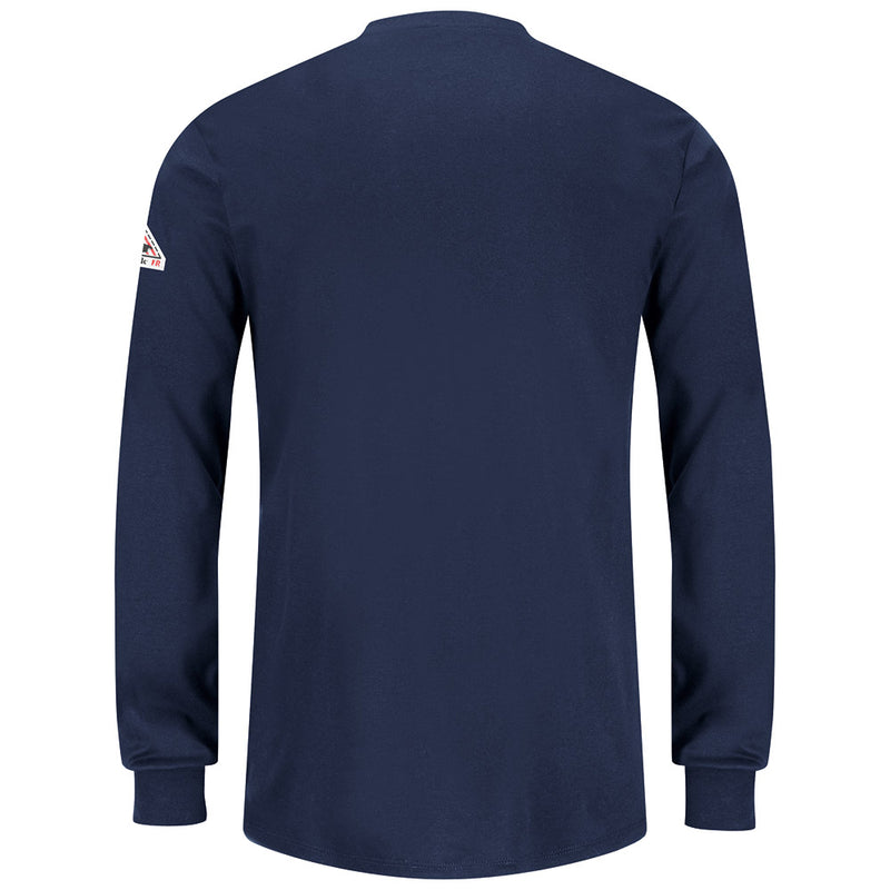 Women's Bulwark FR fire retardant Navy Long Sleeve Henley Shirt - CAT 2 - SEL3NV