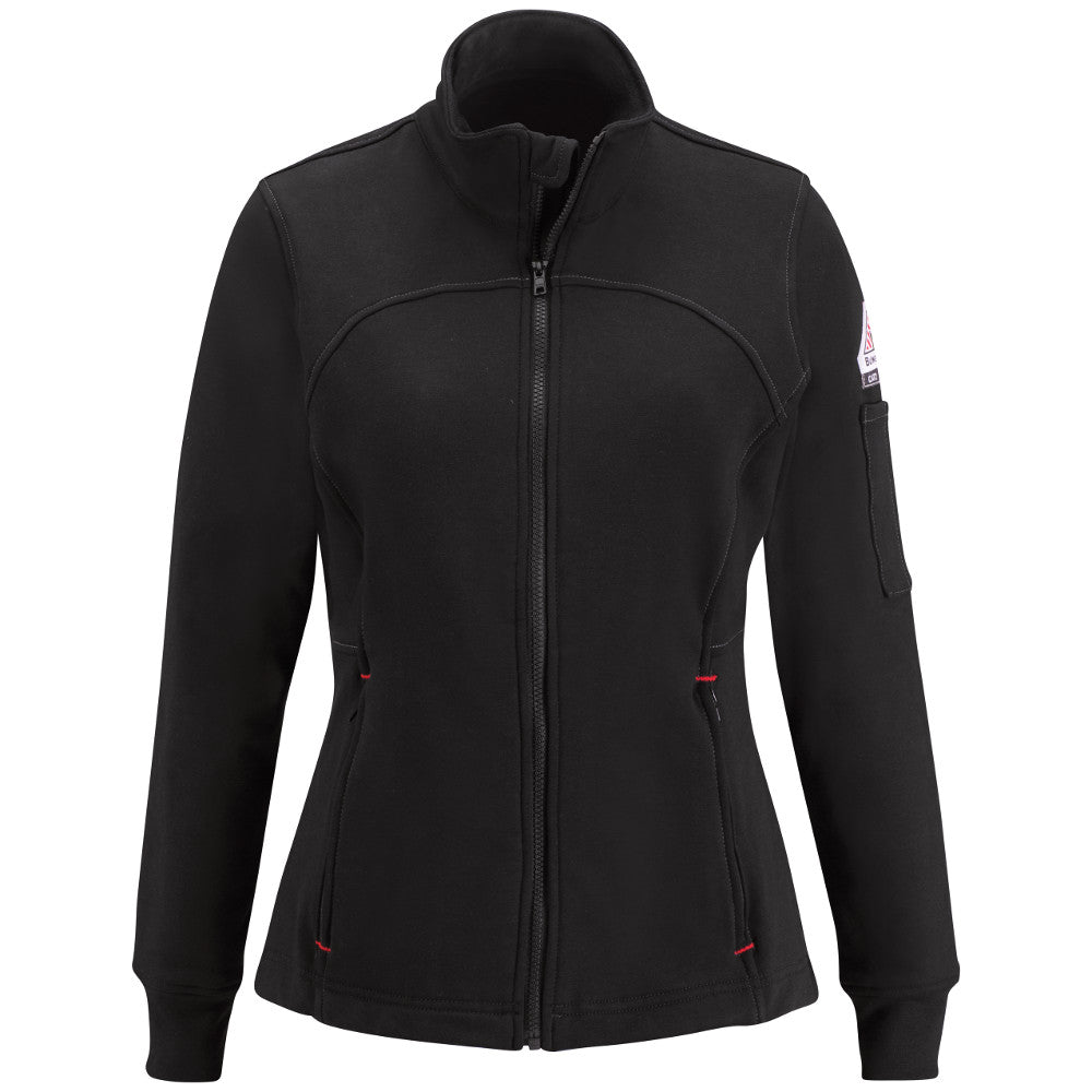 Women's Bulwark FR fire retardant Zip Front Fleece Jacket-Cotton/Spandex Blend - CAT 2 - SEZ3 in Black and Navy
