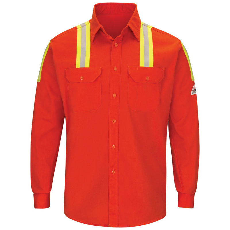 Men's Bulwark FR fire retardant 7 OZ. ENHANCED VIS Orange UNIFORM SHIRT with Reflective Trim HRC 2 SLATOR