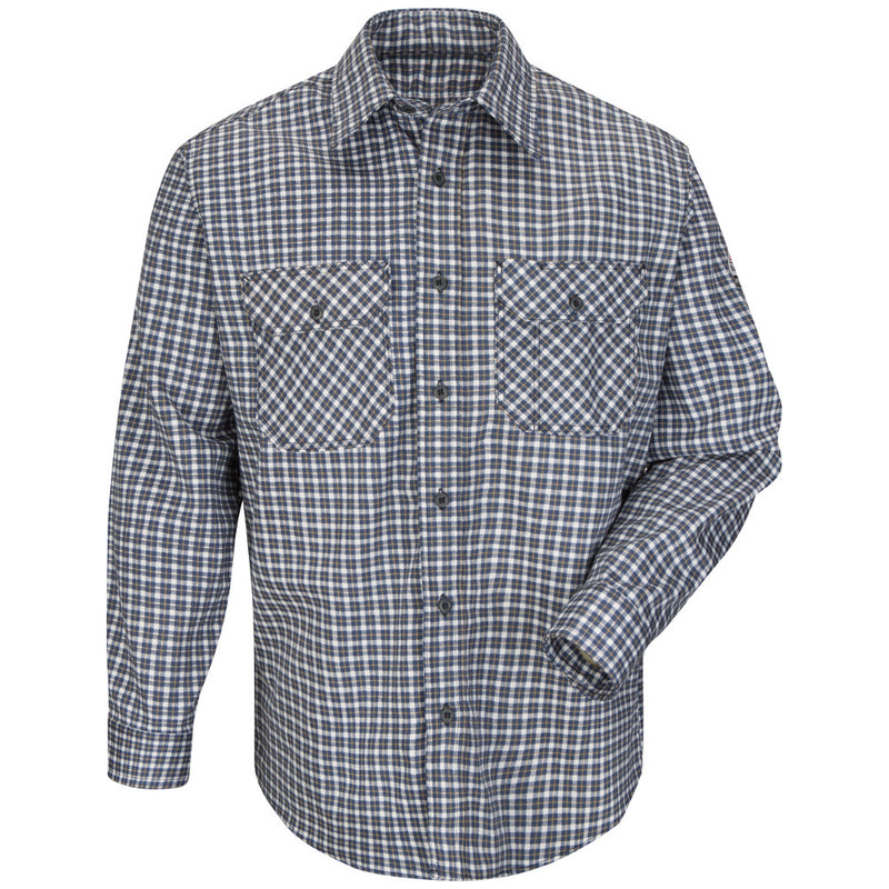 Men's Bulwark FR fire resistant Excel ComforTouch 88/12 Plaid Uniform Shirt - CAT 2 - SLD6