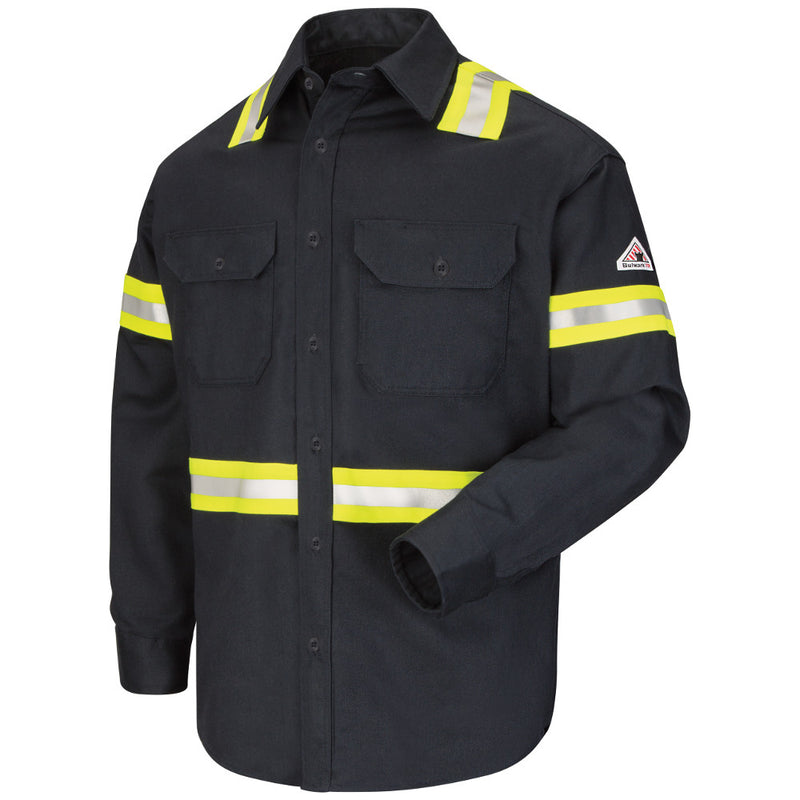 Men's Bulwark FR fire retardant Enhanced Visibility Uniform Shirt with Reflective Striping - EXCEL FR® ComforTouch® - 7 oz. - CAT 2 - SLDT