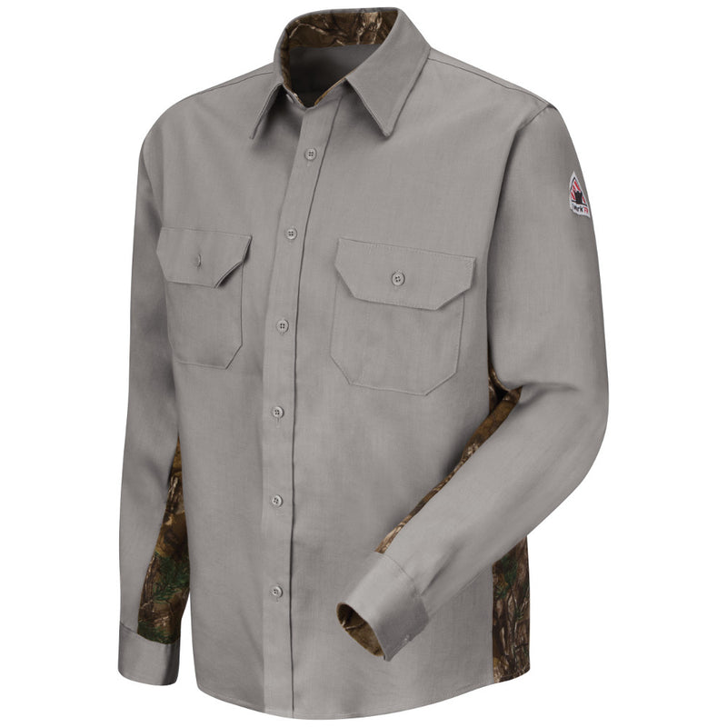 Men's FR Bulwark Dress Uniform Camo Shirt in Grey or Khaki SLU4