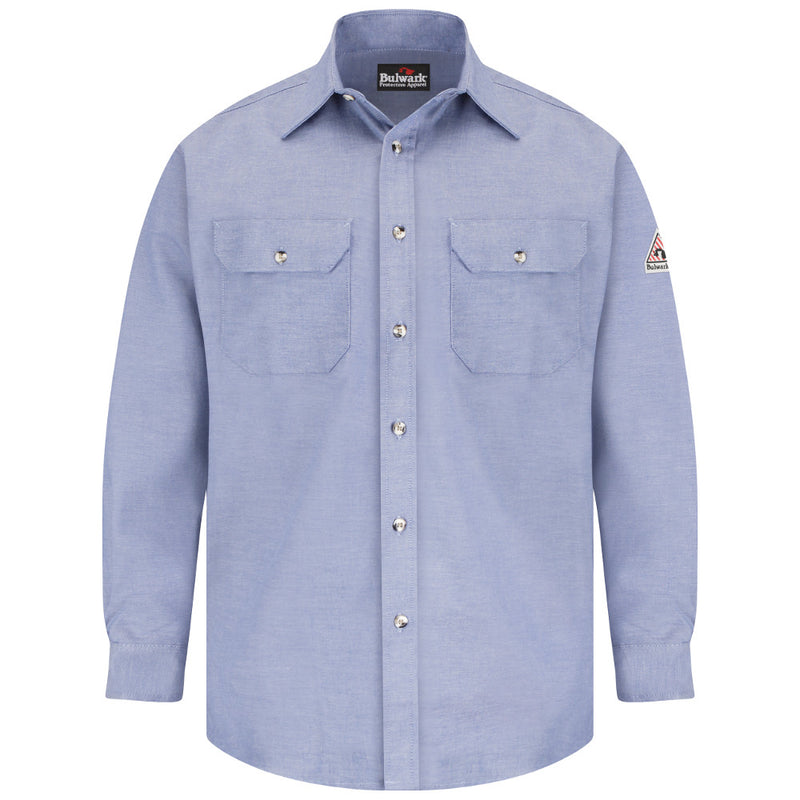 Men's Bulwark FR fire resistant Chambray 6 oz. Dress Uniform Shirt - SLU6CY CAT 1