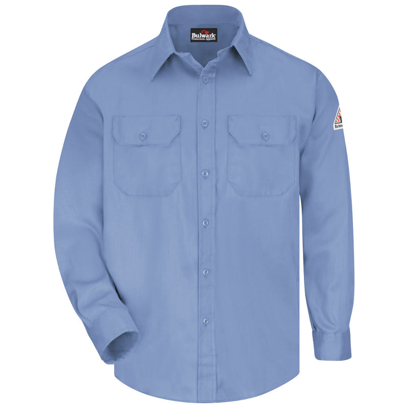 Men's Bulwark FR flame resistant 6 oz. Uniform Shirt in Navy, Orange, Light Blue, Khaki, and Grey - CAT 2 - SLU8