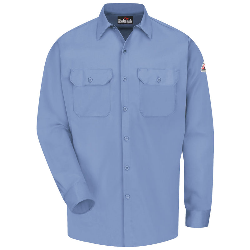 Men's Bulwark FR fire retardant Button-Front Work Shirt - CAT 2 - SLW2 in Khaki, Light Blue, Navy, and Grey