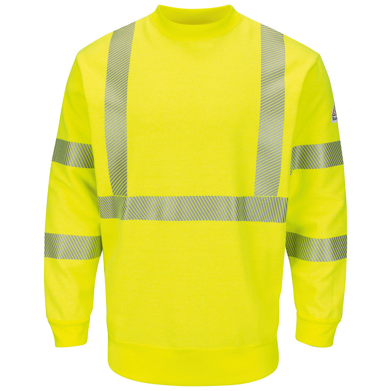 Men's FR Bulwark Hi-Visibility Crewneck Fleece Sweatshirt SMC4HV