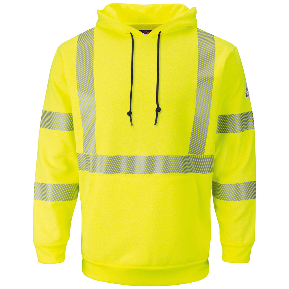 Men's FR Bulwark HI-VISIBILITY PULLOVER HOODED FLEECE SWEATSHIRT SMH4HV
