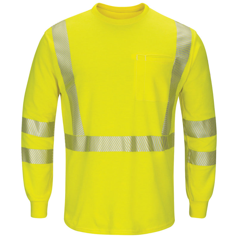Men's FR Bulwark Hi-Visibility Lightweight Long Sleeve T-Shirt SMK8HV