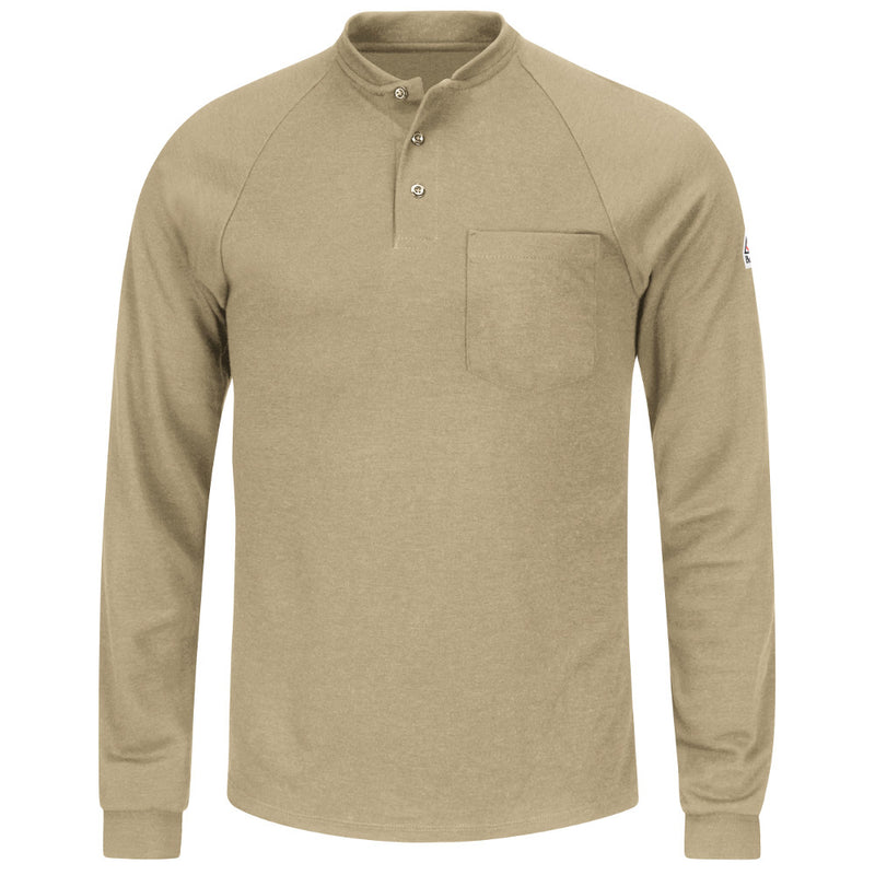 d606c597facc Men s Bulwark FR fire retardant Long Sleeve Tagless KHAKI Henley Shirt -  CAT 2 - SML2KH