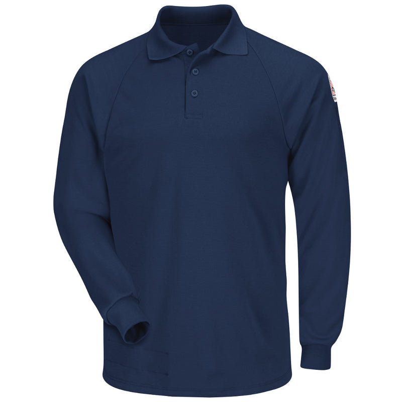 Men's Bulwark FR flame resistant Long Sleeve Classic Polo - CAT 2 - SMP2 in Grey, Khaki, and Navy