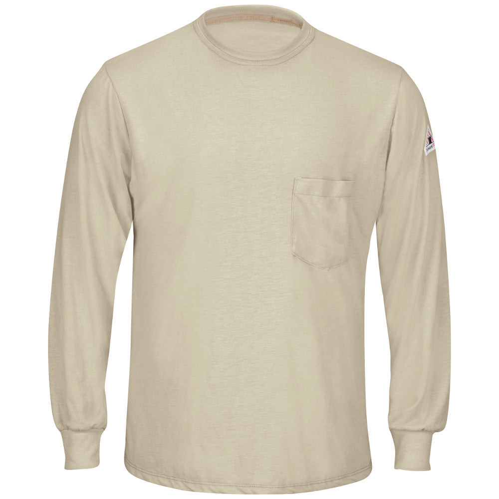Men's Bulwark FR fire retardant Lightweight Long Sleeve T-Shirt in Khaki and Navy SMT8