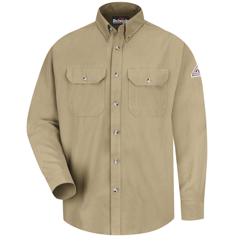 Men's FR Bulwark Uniform Shirt - CoolTouch® 2 Button Front Deluxe Shirt - CAT 2 - SMU2 in Navy, Khaki, and Light Blue