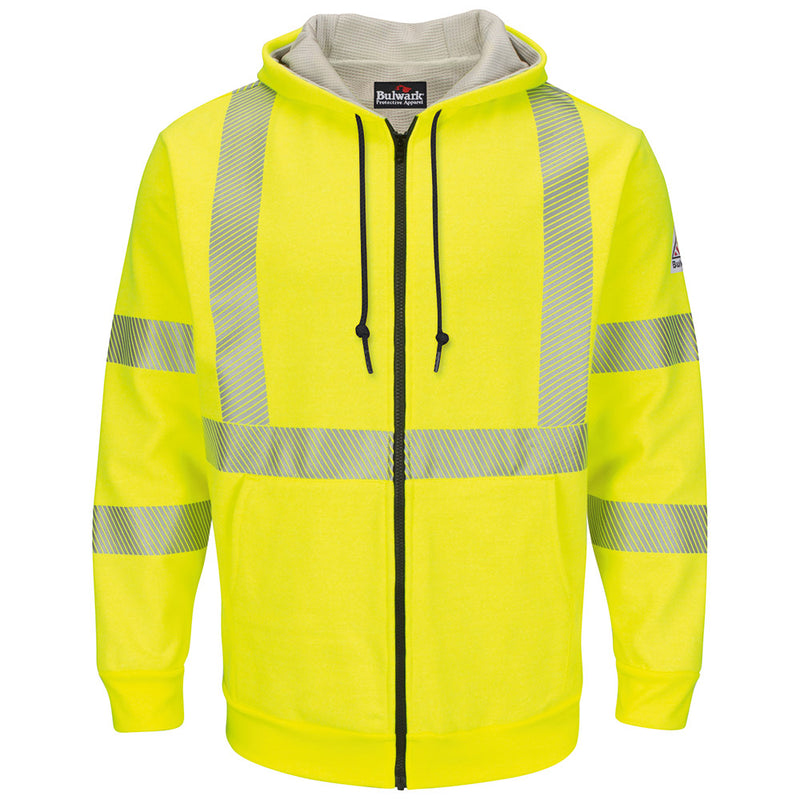 Men's FR Bulwark Hi-Visibility Zip-Front Hooded Fleece Sweatshirt with Waffle Lining SMZ4HV
