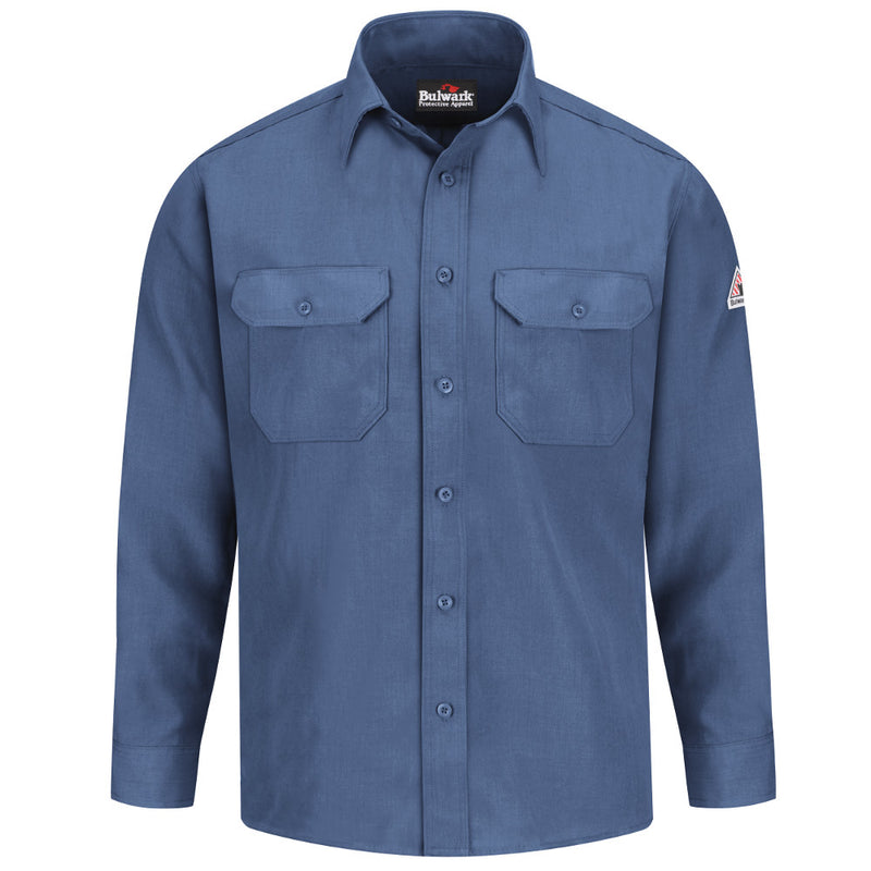 Men's Bulwark FR fire retardant Button Front Deluxe Shirt - CAT 1 - SND2 in Gulf Blue, Navy, Royal Blue, and Tan