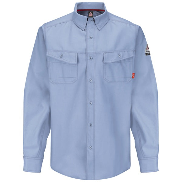 Men's FR Bulwark iQ Series® Endurance Work Shirt in Grey, Khaki, Light Blue, and Navy QS40