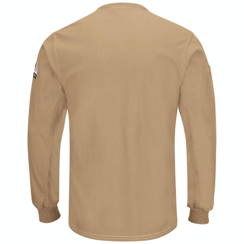 Men's FR Bulwark iQ Series® Plus Knit Long Sleeve Henley in Charcoal and Khaki QT40