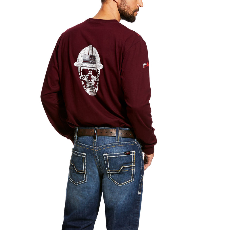 Ariat Men's FR Roughneck Skull Logo Black or Maroon T-shirt 10026434 10026435